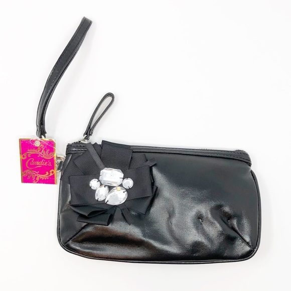 Candie's Handbags - NWT Candie's Donna Bling Bow Black Wristlet🎀